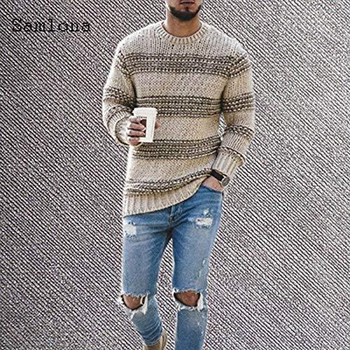 Suéter De Punto para Hombre Otoño Nuevo Ocio Casual Patchwork Color Rayas Suéteres Jerseys Hombre Invierno...