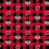 University of Wisconsin Fleece Blanket Fabric-Wisconsin Badgers Fleece Fabric with Buffalo Plaid Design
