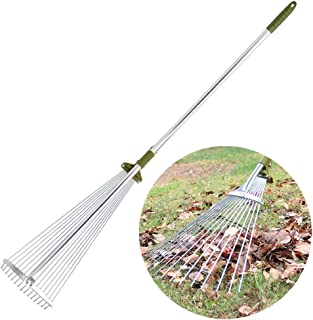 Sungmor Antirust Aluminium 48 to 61 inch Telescopic Leaf Rake with 15-Teeth Adjustable Folding Head,Worth Garden Long handled Leaves Sweeping Tool