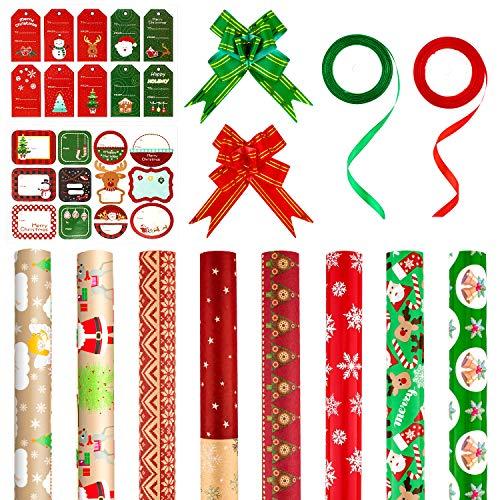 Whaline Carta da Regalo Natalizio Set,tra cui 8 Carta da Regalo Natalizia,2 Nastri in Rotolo,20 Pezzi di Fiocchi Natalizi e 2 Fogli di Adesivi da Regalo, per Confezione Regalo di Natale(Rosso e Verde)
