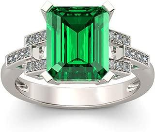 Magnifique Argent Anneaux De Mariage Pour Femmes Bijoux Emerald Ring Taille 6-10