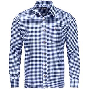 Tracht & Pracht - Men's Cotton Bavarian Traditional Alpine Shirt - Checked Longsleeves Blue - XL