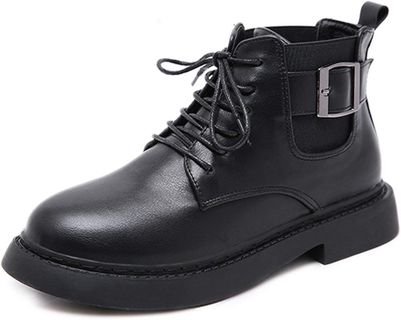 Summer-lavender Woman Short Boots Black Ankle Boots Lacing Buckle Platform shoes Square Heels Autumn shoes