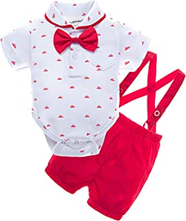 Baby Boys' 2 Piece T-Shirt Suspender Shorts Clothing Set