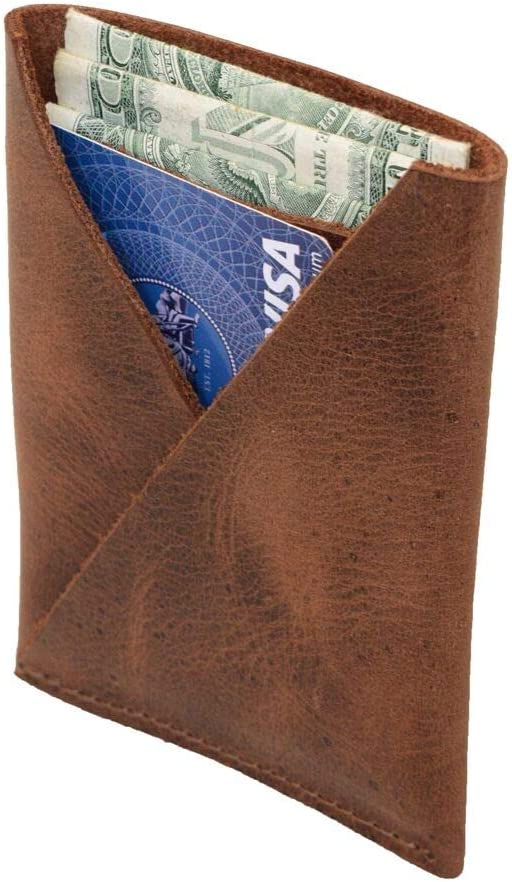 Hide & Drink, Leather Front Pocket Card Holder, Holds Up to 4 Cards Plus Folded Bills / Wallet / Pouch / Case / Organizer, Handmade Includes 101 Year Warranty :: Bourbon Brown