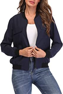 Bomber Jacket Women Lightweight Zip-up Long Sleeve Biker Cycling Outfit with Pockets