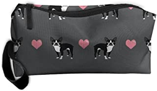 Styleforyou Travel Makeup Grey Boston Terrier Love Hearts Cosmetic Pouch Makeup Travel Bag Purse Holiday Gift For Women Or Girls