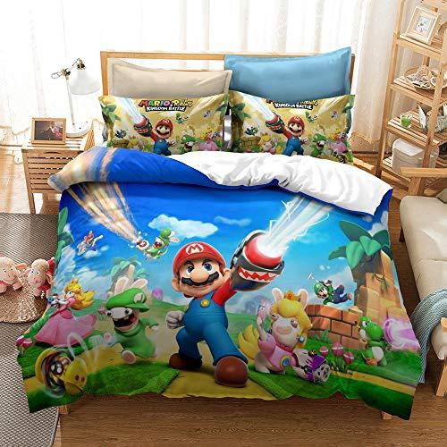 GD-SJK Super Mario - Juego de cama infantil (funda nórdica de 75 x 50 cm, funda de edredón de 135 x 200 cm, algodón/renforcé, 2 piezas, ropa de cama infantil (A03,155 x 220 cm)