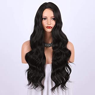 Dark Brown Synthetic Wigs for women - Natural Looking Long Wavy Right Side Parting Heat Resistant Replacement Wig Full Mac...