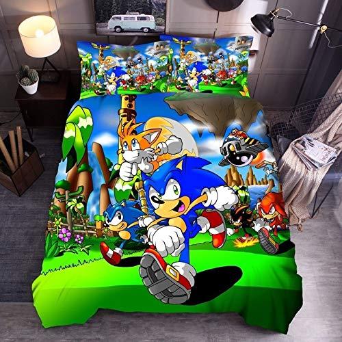 MAOER 3D Sonic Bedding Set Anime Cartoon Super Mario Sonic Quilt Juego de niños Sábana Funda de Almohada Textiles para el hogar (C,180x210cm)