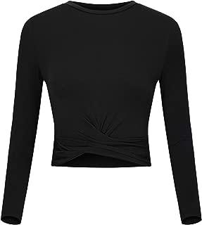 Women's Short Sleeve Round Neck T-Shirt Slim Fit Crop Tops Yoga Workout Shirts Activewear Tank Top