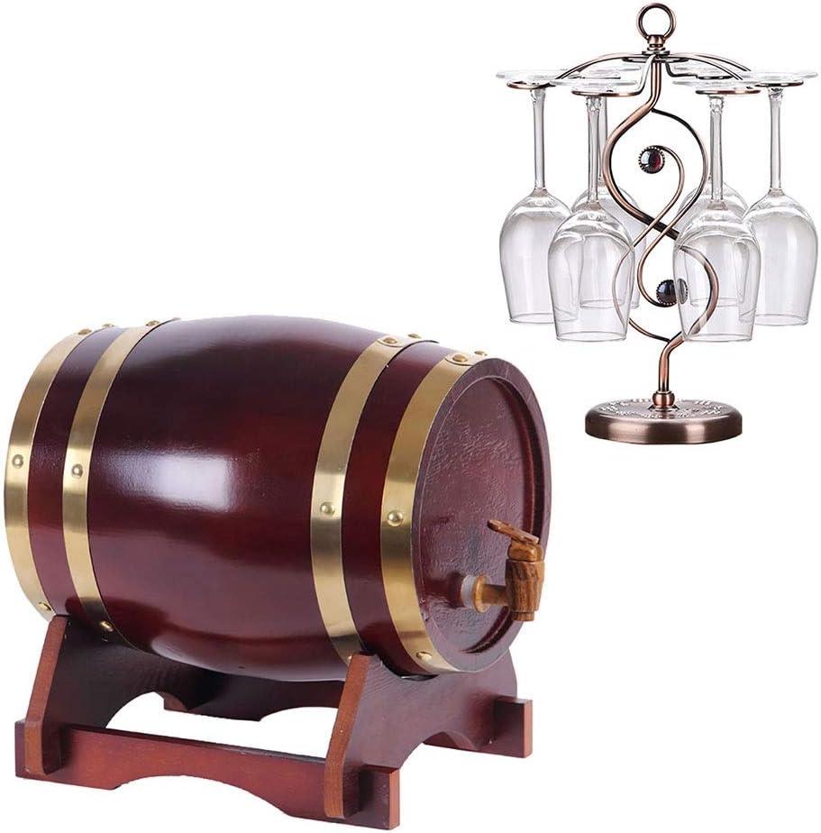 LPLND Barril de Vino Barril de Madera de Roble Roble Vintage Dispensador con Soporte de Madera for almacenar Cerveza, Vino Blanco, Brandy (Color : E, Size : 5L)