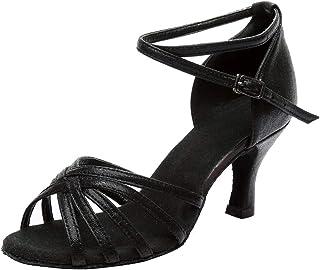 [Yochyan ブーティー] サンダル ダンスシューズ レディース ハイヒール オープントゥ ラテンダンス クロスストラップ ファッション 春夏 美脚 おしゃれ パンプス バックルストラップ スリッパ ショートシューズ 無地 女性の靴 通気性 耐久性