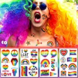10 Sheets Pride Day Rainbow Temporary Tattoos Stickers Rainbow Flag Heart Body Art Tattoo Decals for Women Men LGBT Pride Party Favors Equality ParadesCelebrations