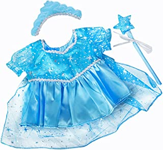 BLUE SNOW PRINCESS DRESS LIKE FROZEN ELSA TEDDY BEAR OUTFIT CLOTHES WITH WAND AND TIARA FITS 15
