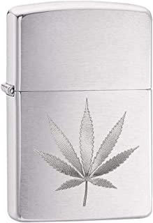 Zippo Brushed Chrome Marijuana Leaf Pocket Lighter (29587), One Size