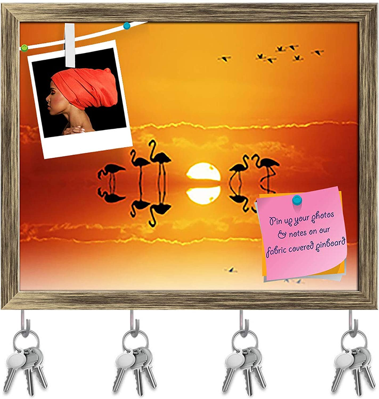Artzfolio Pink Flamingos at Sunset Key Holder Hooks   Notice Pin Board   Antique golden Frame 19.9 X 16Inch