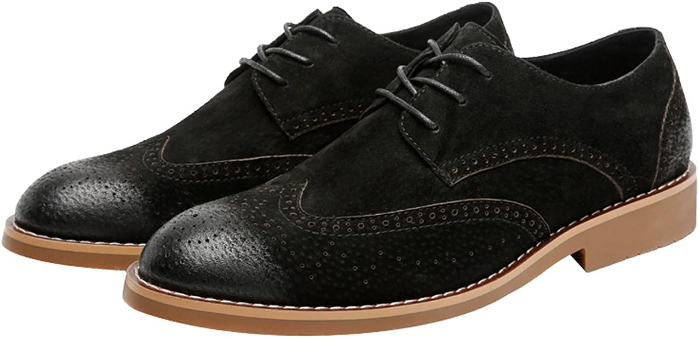 Männer Klassische Business Schuhe Schuhe Schuhe Matte Atmungsaktiv Hohl Carving Echtes Leder Lace up Ausgekleidet Oxfords (Wildleder Optional) (Farbe   Suede BLK, Größe   25CM)  e7f8b7