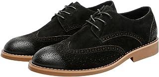 ビジネスシューズ オックスフォードシューズ (スエードオプション)メンズレザークラシックビジネスシューズつや消し通気性中空彫刻付き裏地付きオックスフォードシューズBrock Shoes Wingtip 翼端 (Color : Suede BLK, サイズ : 24.5 CM)