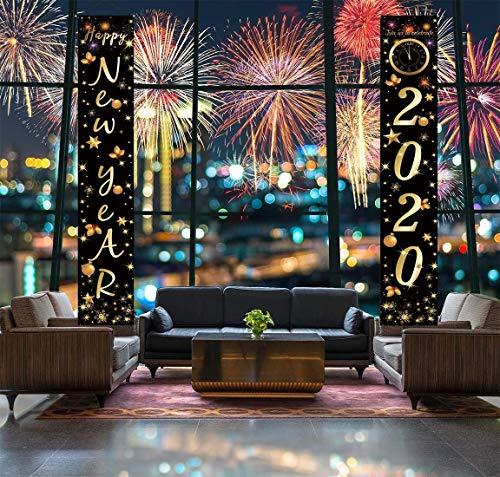 Sayala Segno del Portico di Capodanno Bandiere Decorative per Appendere Le Porte Interne per la Festa di Capodanno