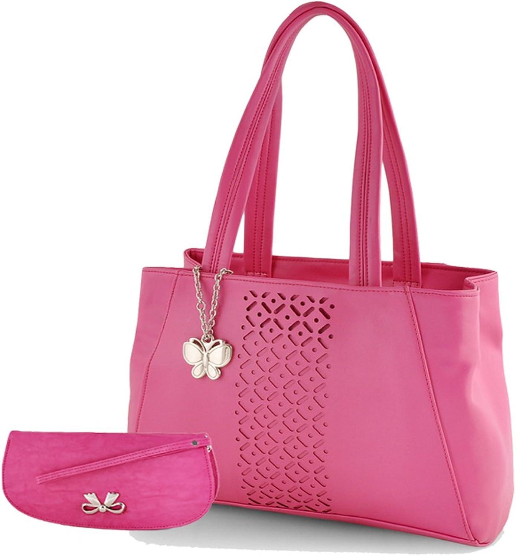 Butterflies Women's Handbag (Pink) (BNS WB0165)