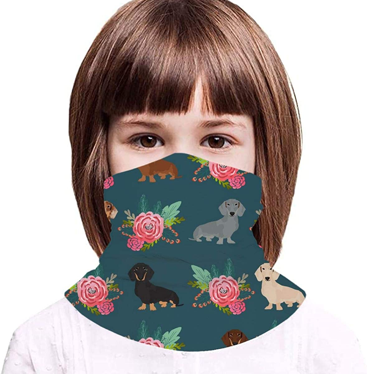 Doxie Dog Florals Cute Dogs Floral Flowers Navy Cute Dogs Kids Face Mask Dust Sun UV Protection Neck Gaiter Balaclava Face Cover Scarf Summer Breathable for Cycling Fishing Outdoors