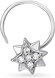 Mia by Tanishq 14k (585) White Gold and Diamond Nose Pin