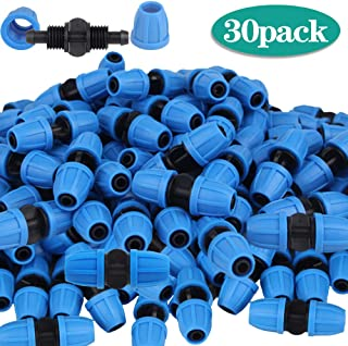Lhx 30 pcs Locknut Equal Diameter Tees Garden Hose Connector High-Efficiency Screw Cap T-Shaped Connector 4/7mm PE Hose Garden Connector Garden Irrigation Watering System Accessories (Blue 03)