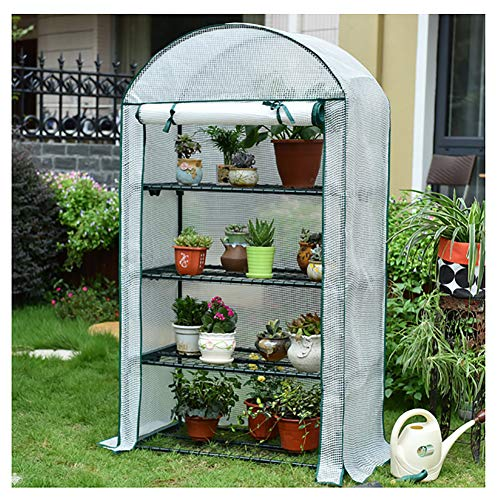 Mini Greenhouse, Portable Garden Plant Green House with PE Cover and Roll-Up Zipper Door 4 Tier Indoor and Outdoor Plant Flower Shelf, Easy to Assemble,White