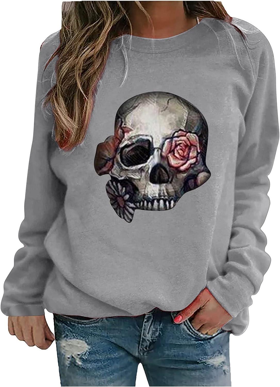 Women's Halloween Skull Print Tops Casual Crewneck Long Sleeve Sweatshirt Loose Blouse Pullover Hoodie Sport Work Tee
