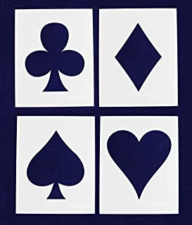 Playing Card Suits - 4 Piece Stencil Set - 8 X 10 Inches