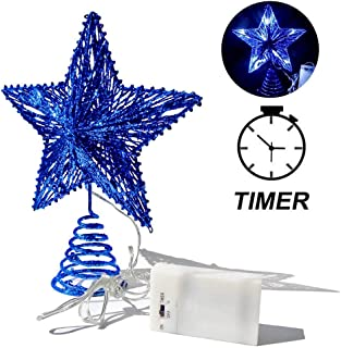 CN CRAFTS 3D Christmas Tree Topper Star, Hollowed-Out Glittered Metal Treetop Star with Timer Cool White LED 10-Lights (Three Functions), 8.5 X 10.5 Inch (Blue)