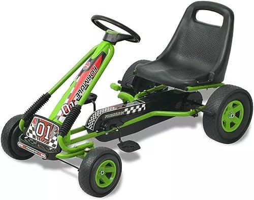 SENLUOWX Pedal Go-Kart mit verstellbarem Sitz Grün Kinderfahrzeug Kinderauto aus PP und PVC und Eisen