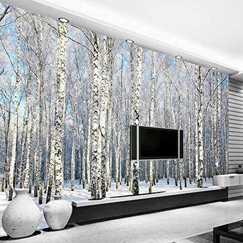 Behang, fotobehang, aangepaste 3D fotobehang, berkenwald, sneeuw, landschap, woonkamer, slaapkamer, tv, achtergrond, muurschildering 3D wallpaper voor woonkamer, tv, achtergrond, slaapkamer, wanddecoratie 440cm(W)×270cm(H)