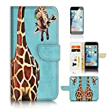 ( For iPhone 6 / 6S ) Wallet Case Cover and Screen Protector Bundle A4131 Giraffe