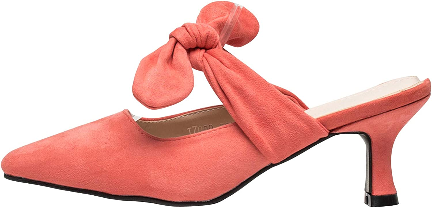 AnnaKastle Womens Pointy Toe Kitten Heel Mule Sandal with Bow Knot Strap