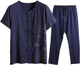 NIUQI Men's Summer Fashion Casual Printing Cotton-Hemp Short Sleeve Long Pants Suit