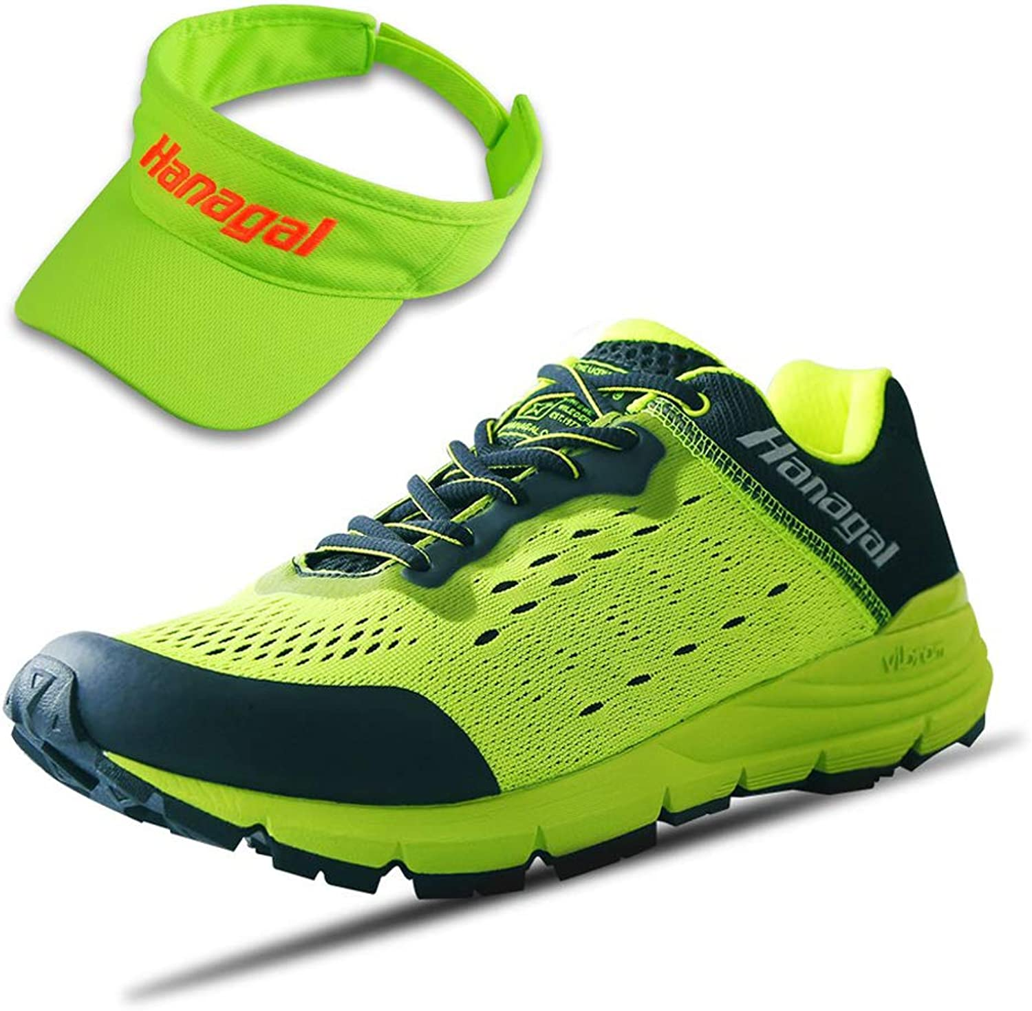 HANAGAL Men's Kenting Hiking shoes, Trail and Road Running shoes with Visor Hat Green Size  7 US