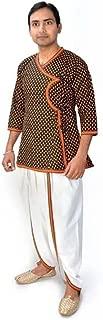 Indian Handicrfats Export Men's Yellow Printed Full Sleeve Kurta and Dhoti Pant Set