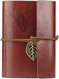 Anboo Retro PU Leather Cover Loose Leaf Blank Notebook Journal Diary Gift (Dark Red)