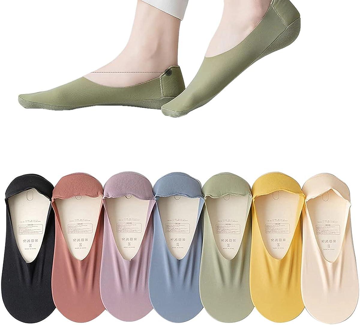 Womens No Show Thin Socks Cotton Nylon Low Cut Liner Non Slip hidden Invisible Socks with heel protect pad 5 Pairs (Random)