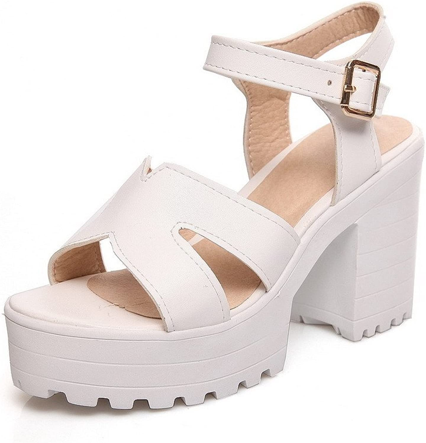 AllhqFashion Women's Open Toe High Heels Soft Material Solid Buckle Heeled-Sandals