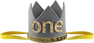 TiaoBug Baby Boys Girls Shiny First Birthday Hat Sparkly Party Crown Tiara Photo Props Elastic Headband