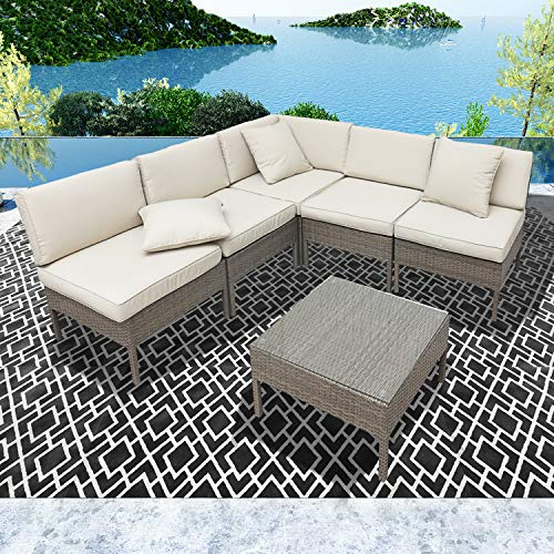 LOKATSE HOME 6 Pieces All-Weather Rattan Patio Sectional Sofa Set Wicker Outdoor Furniture with 3 Pillows Coffee Table, Beige