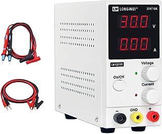 منبع تغذیه متغیر ، 0-30 ولت / 0-10 A LW-K3010D قابل تنظیم سوئیچ تنظیم شده منبع تغذیه دیجیتال ، با تمساح منجر به کابل برق ایالات متحده مورد استفاده برای اسپکتروفتومتر و تعمیر تجهیزات آزمایشگاهی