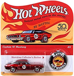 Hot Wheels 2018 50th Anniversary Originals 4/5 - Custom '67 Mustang (Red) with Button