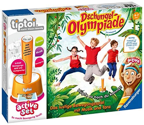 Ravensburger tiptoi active Set Dschungel-Olympiade Spiel, ab 4 Jahren, Freude an Bewegung im Team spielerisch und interaktiv erleben