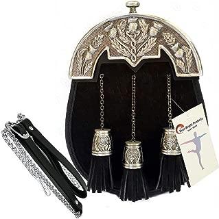 Scottish Kilt Black Bovine Fur Full Dress Sporran Antique Enamel Thistle Cantel