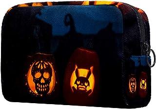 Halloween Pumpkin Faces Makeup Bag Toiletry Bag for Women Skincare Cosmetic Handy Pouch Zipper Handbag
