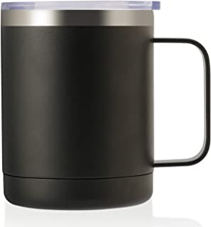ONEB 12oz Tumbler Stainless Steel Coffee Mug with Handle - Double Wall Vacuum Cup wth Lid for Hot & Cold Drinks (Black, 12oz-1 Pack)